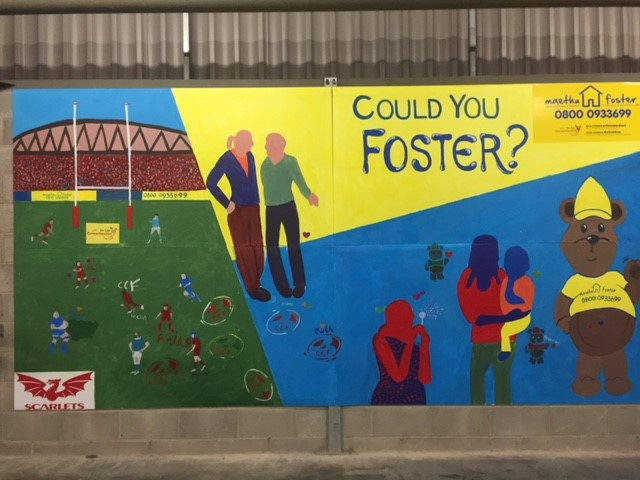 Fostering mural at Parc y Scarlets